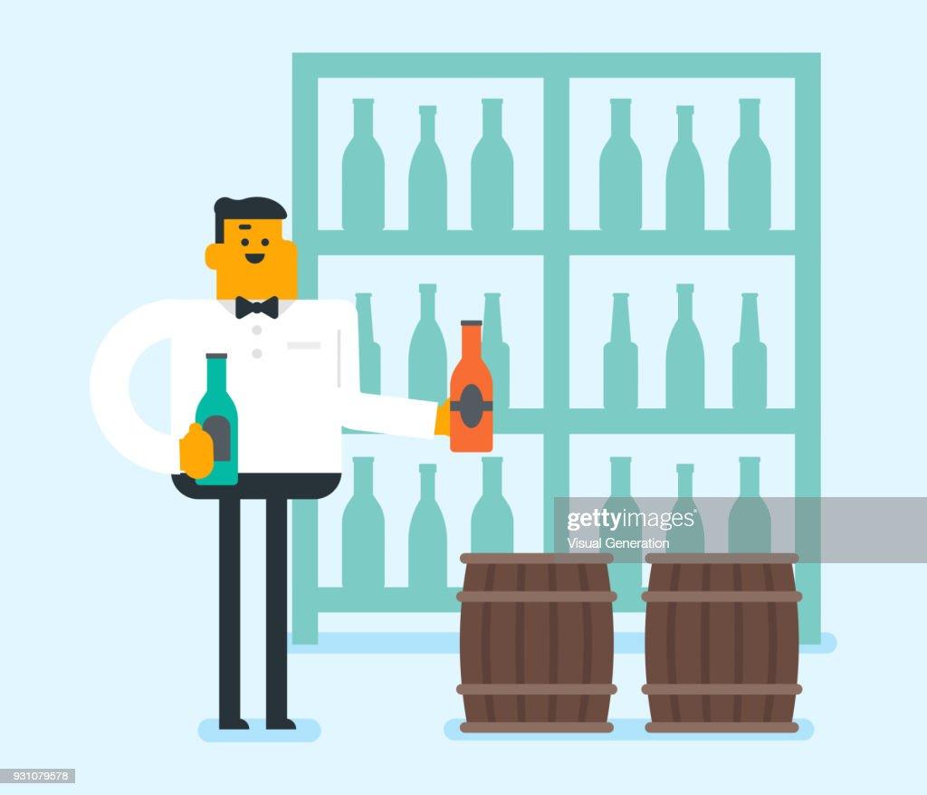Caucasian waitress holding a bottle of wine