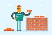 Caucasian white builder building a brick wall