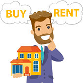 Caucasian white man thinking buy or rent house