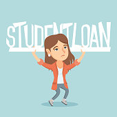 Caucasian woman holding sign of student loan