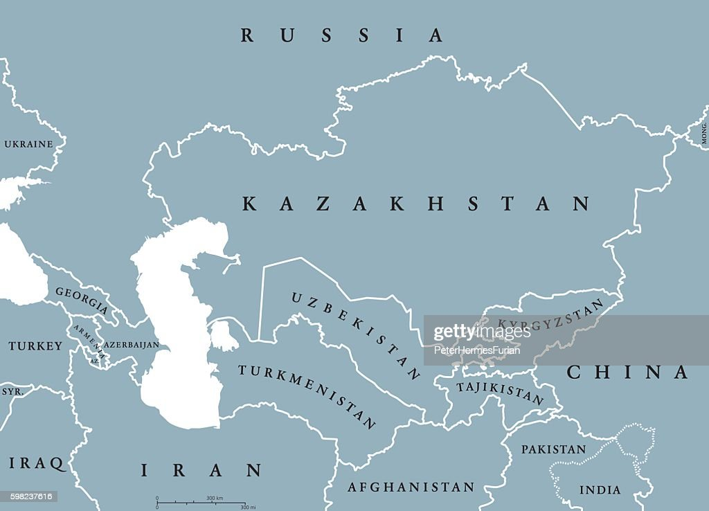 Caucasus and Central Asia countries political map