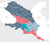 Caucasus Region map - Blue Spot - curves 10