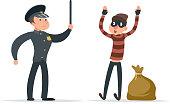Caught thief surrender loot policeman character cartoon design vector illustration
