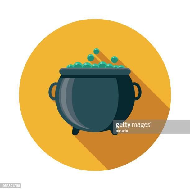 cauldron flat design fantasy icon - cauldron stock illustrations, clip art, cartoons, & icons