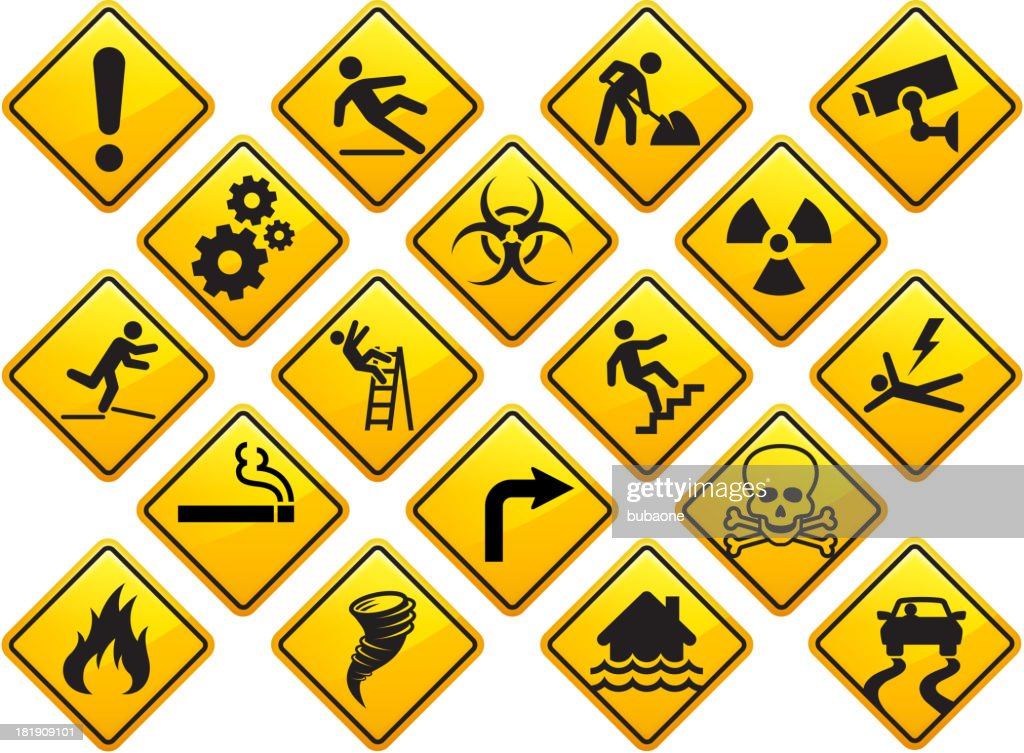 Caution and Attention Signs Set : stock illustration