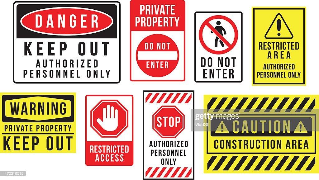 Panneaux de danger et d'avertissement : Illustration