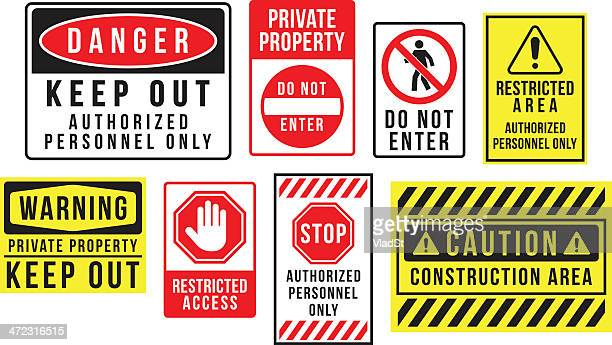 caution danger and warning signs - forbidden stock illustrations