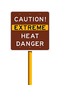 Caution Extreme Heat Danger road sign