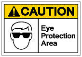 Caution Eye Protection Area  Symbol Sign ,Vector Illustration, Isolate On White Background Label. EPS10