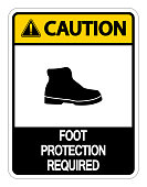 Caution Foot Protection Required Wall Sign on white background