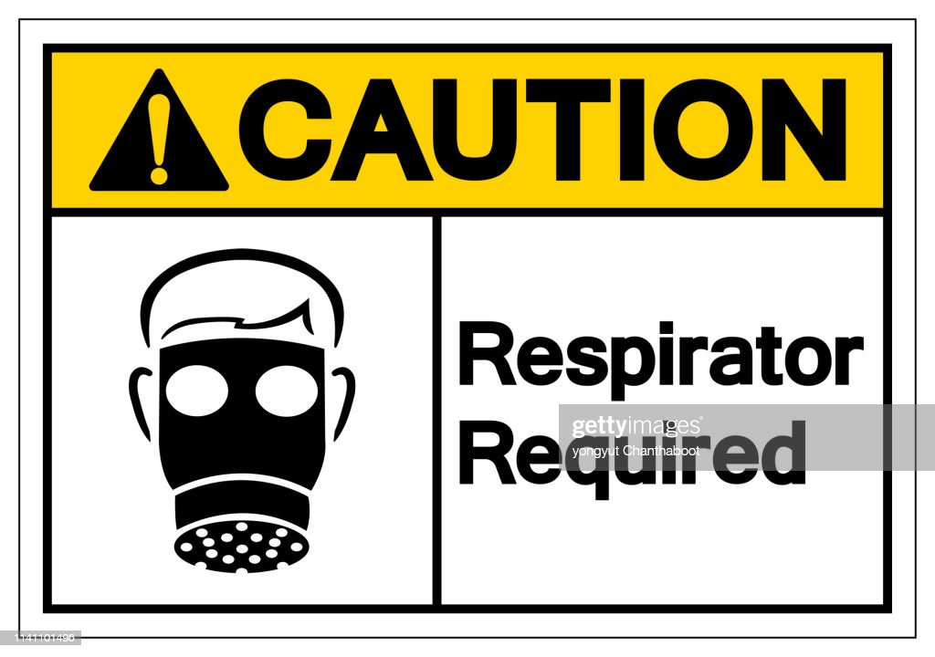 Caution Respirator Required Symbol Sign, Vector Illustration, Isolate On White Background Label. EPS10