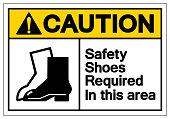 Caution Safety Shoes Required In This Area Symbol Sign, Vector Illustration, Isolated On White Background Label .EPS10