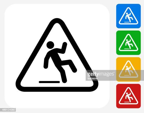 stockillustraties, clipart, cartoons en iconen met caution slippery sign icon flat graphic design - glad