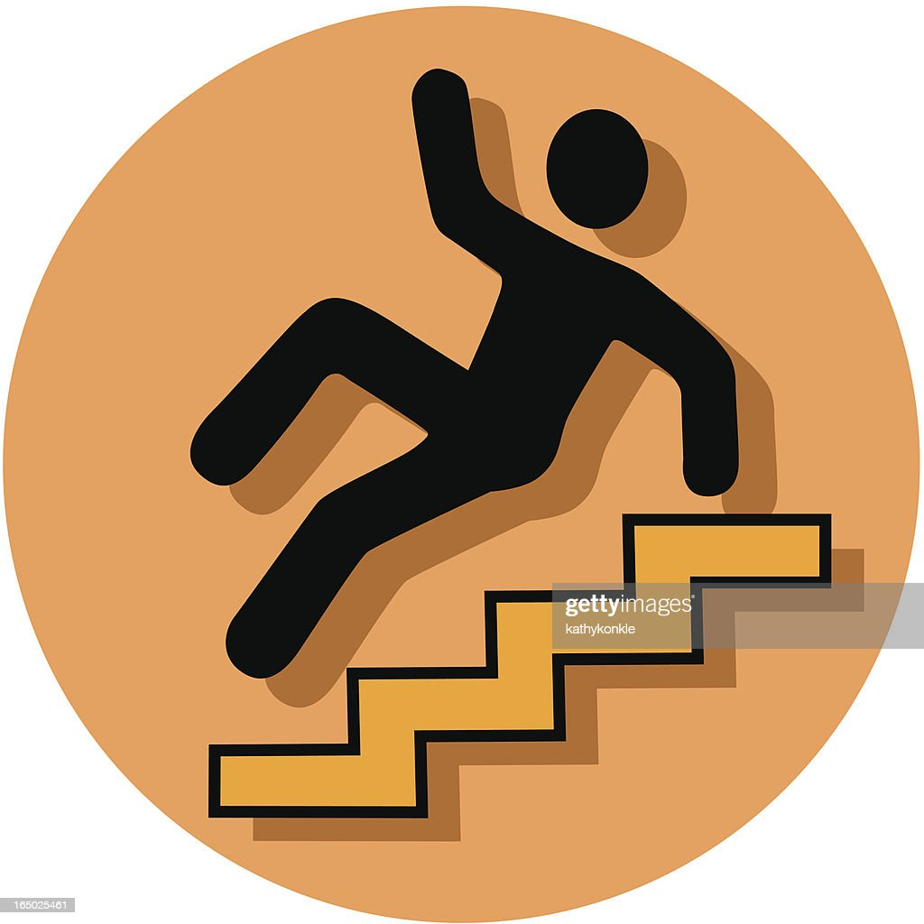caution stairs icon : stock illustration