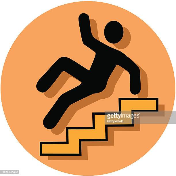 caution stairs icon - occupational safety and health stock illustrations, clip art, cartoons, & icons