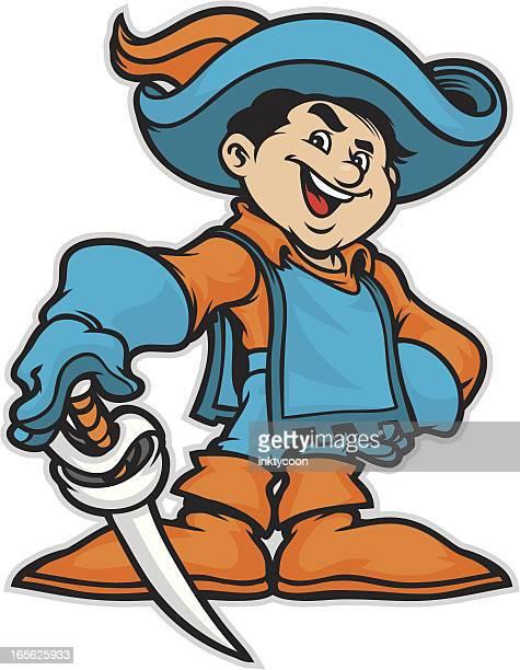 cavalier kid mascot - cavalier cavalry stock illustrations, clip art, cartoons, & icons