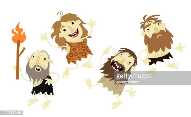 ilustraciones, imágenes clip art, dibujos animados e iconos de stock de gente de la cueva - paleolitico