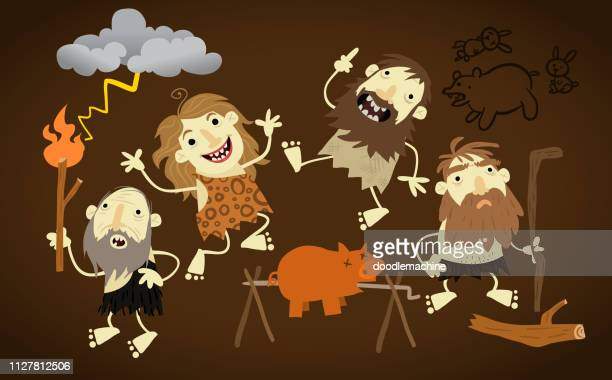 illustrazioni stock, clip art, cartoni animati e icone di tendenza di cave folks - paleolitico