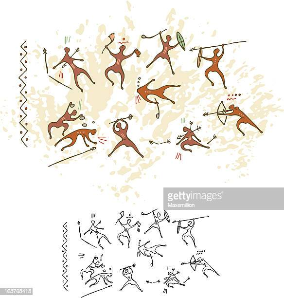 cave painting battle - fighting stance stock illustrations, clip art, cartoons, & icons