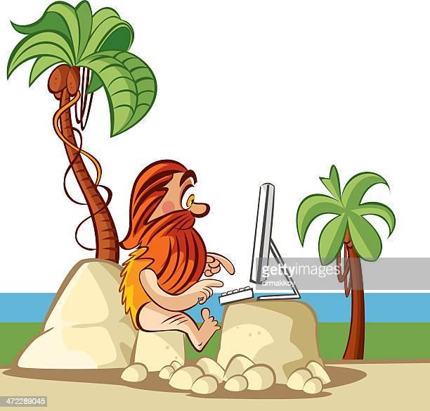 caveman and computer - paleolitico stock illustrations