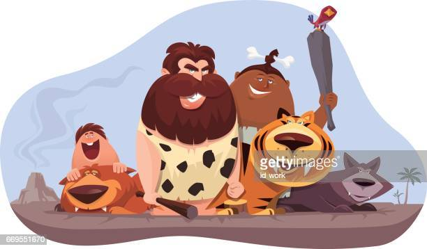 caveman and family