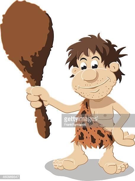 caveman cartoon man isolated - paleolitico stock illustrations
