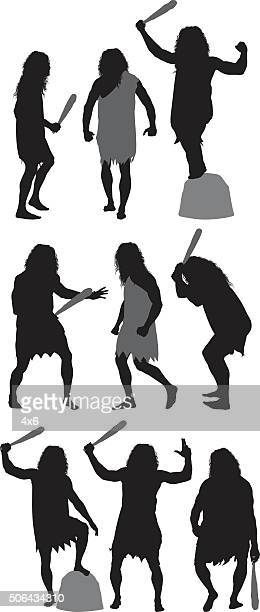 Caveman in action with club