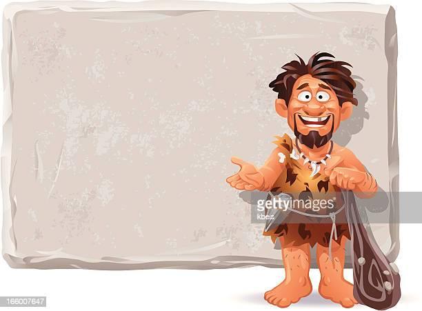 ilustrações, clipart, desenhos animados e ícones de o caveman mensagem - era prehistórica