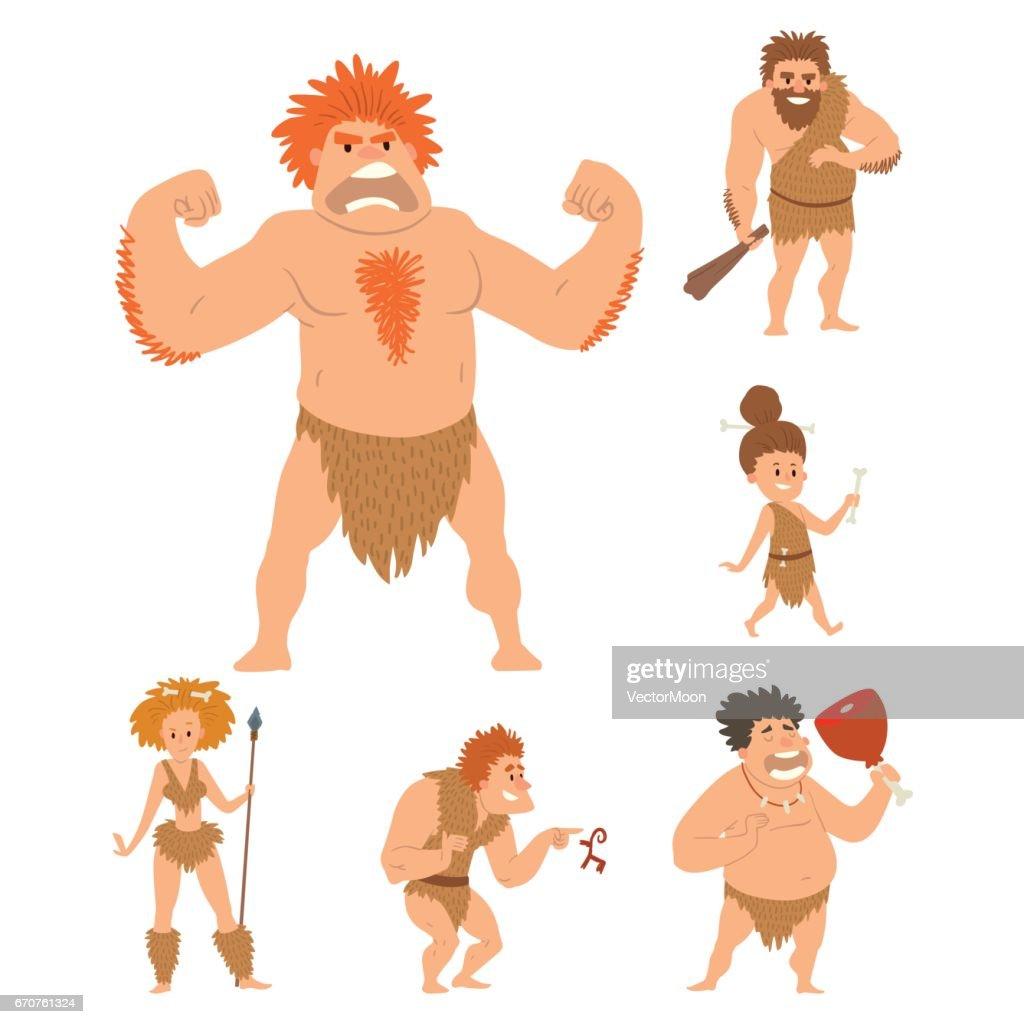 Caveman primitive stone age cartoon neanderthal people character evolution vector illustration