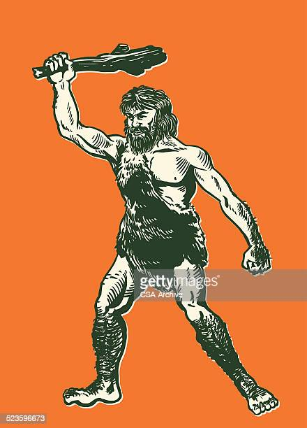 caveman with a club - neanderthal stock illustrations