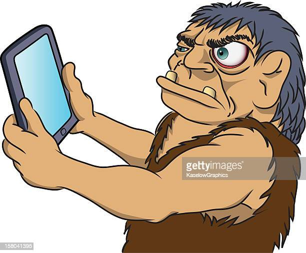 Caveman with Computer Tablet
