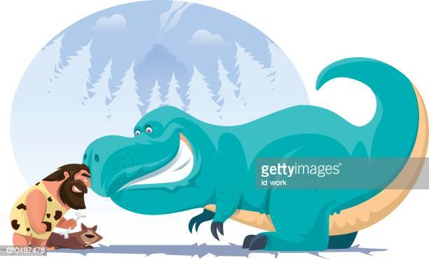 illustrazioni stock, clip art, cartoni animati e icone di tendenza di caveman with dinosaur - paleolitico