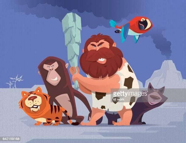 ilustrações, clipart, desenhos animados e ícones de homem das cavernas com animais de estimação defendendo - era prehistórica