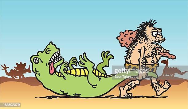 caveman's catch - paleolitico stock illustrations