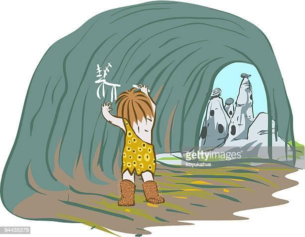 caveman-wall - paleolitico stock illustrations