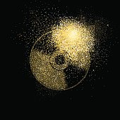 Cd gold glitter art concept symbol illustration