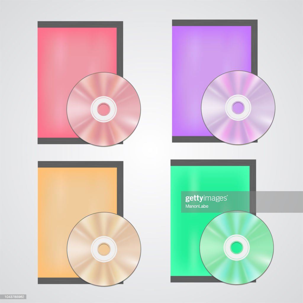 Cd or dvd disc realistic set, for mock ups, advertisement, web-design. Glowing plastic surface stylization of music, video or other information data storage on white background with bright cases.