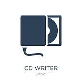 cd writer icon vector on white background, cd writer trendy fill