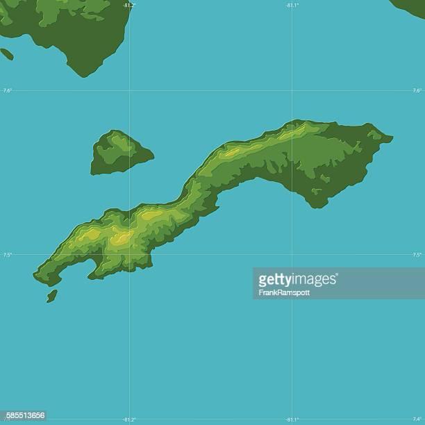 Cebaco Island Topographic Relief Vector Map