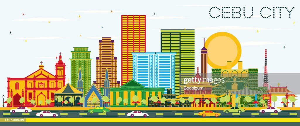 Cebu City Philippines Skyline with Color Buildings and Blue Sky.