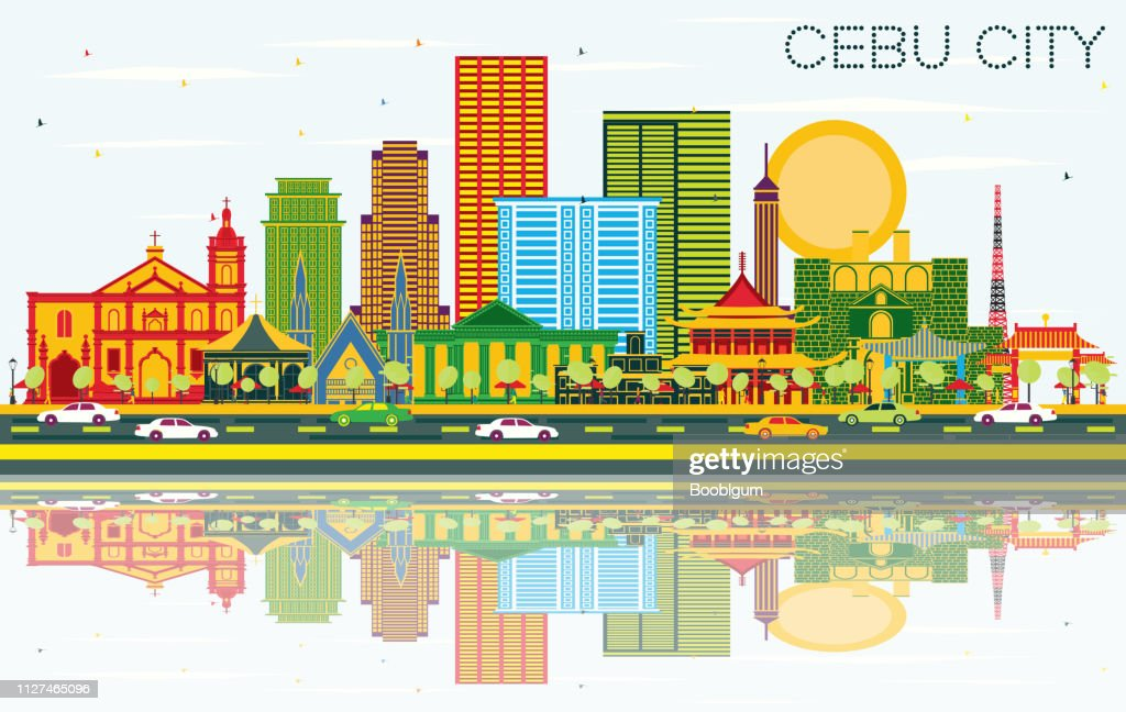 Cebu City Philippines Skyline with Color Buildings, Blue Sky and Reflections.