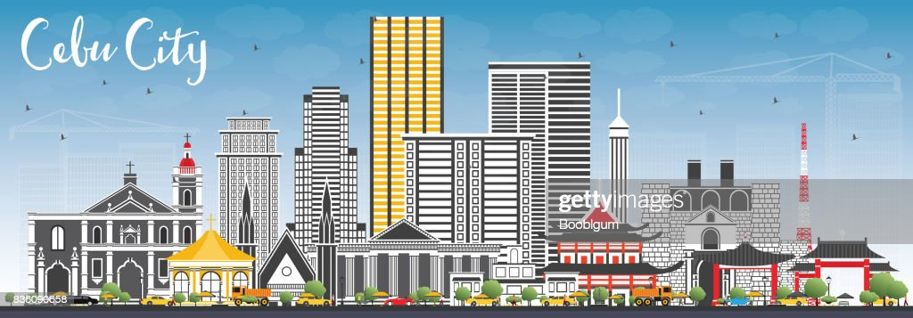 Cebu City Philippines Skyline with Gray Buildings and Blue Sky.
