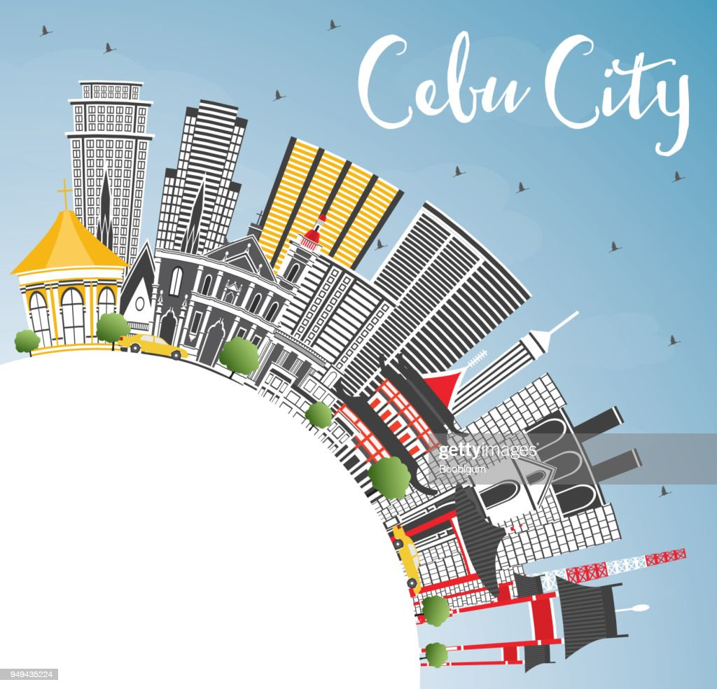 Cebu City Philippines Skyline with Gray Buildings, Blue Sky and Copy Space.