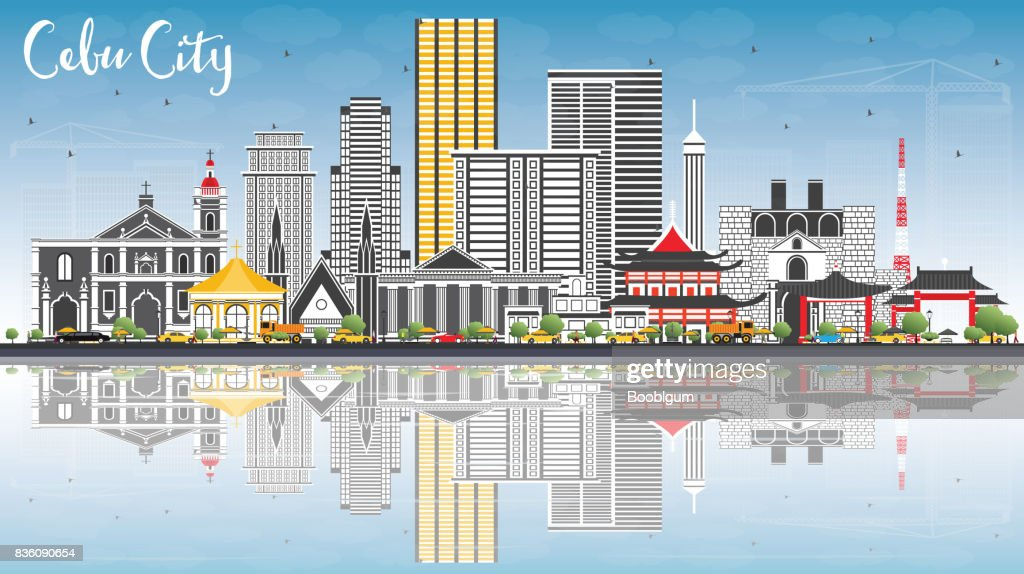 Cebu City Philippines Skyline with Gray Buildings, Blue Sky and Reflections.