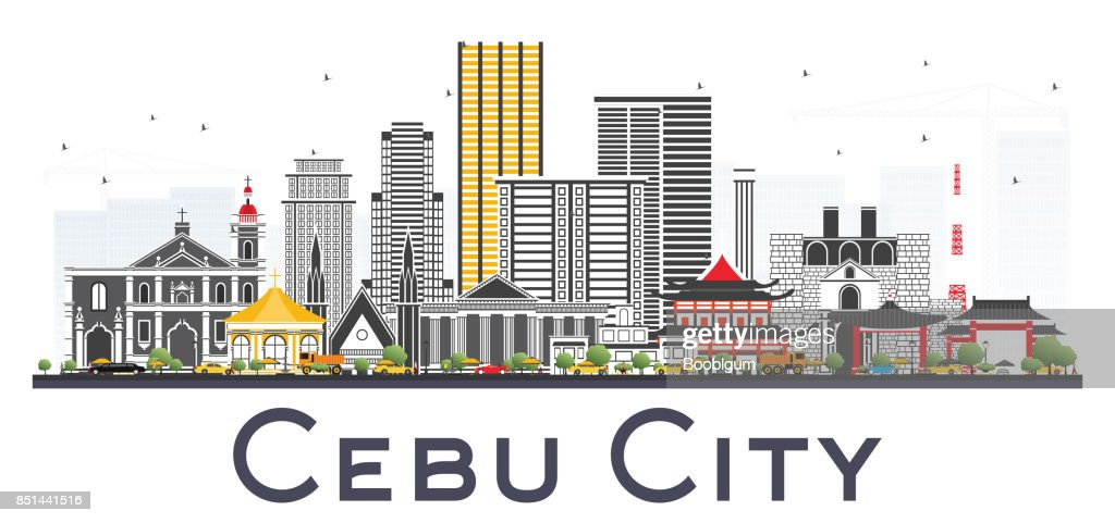 Cebu City Philippines Skyline with Gray Buildings Isolated on White Background.