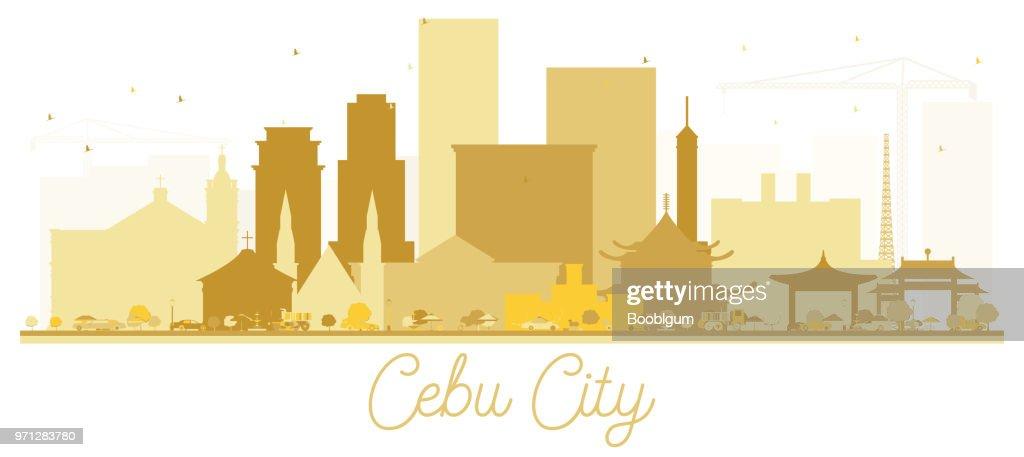 Cebu City skyline Golden silhouette. Vector illustration.