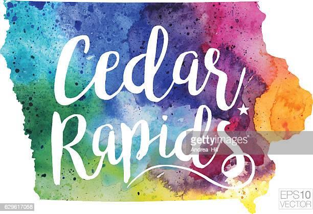 Cedar Rapids, Iowa Vector Watercolor Map