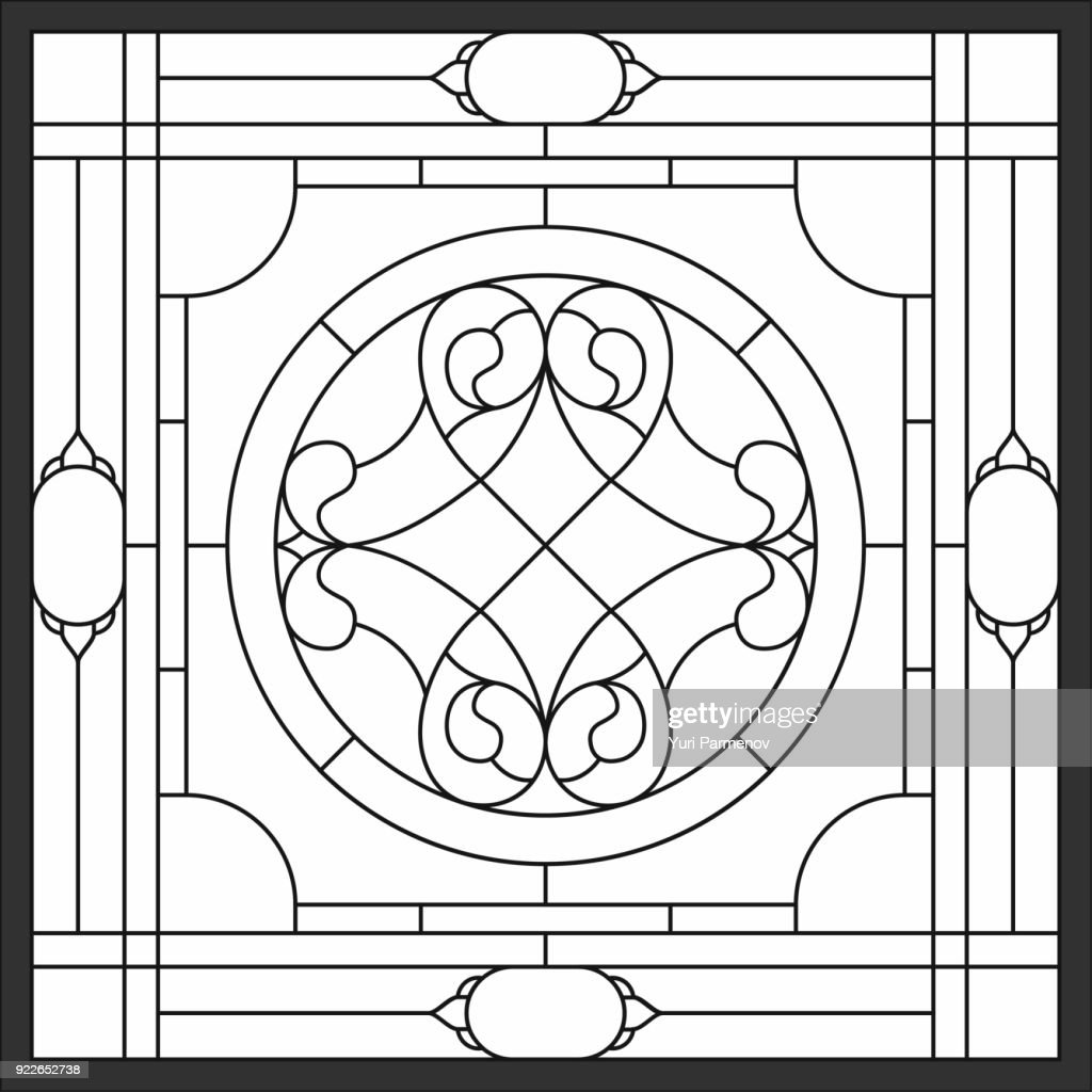 Ceiling panels stained glass window. Abstract Flower, swirls and leaves in square frame, geometric ornament, symmetric composition, tiffany technique, classic style.