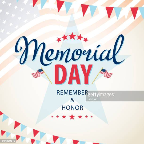 celebrate american memorial day - national holiday stock illustrations, clip art, cartoons, & icons