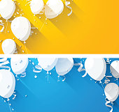 Celebrate backgrounds with flat balloons.